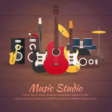 Poster with musical instruments. Music studio. Guitar. Flat design. Royalty Free Stock Photo