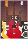 Poster with musical instruments. Music studio. Guitar. Flat design. Royalty Free Stock Photos
