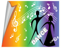 Poster with musical motifs and dancers Stock Image