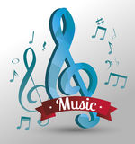 poster with musical notes isolated icon design Royalty Free Stock Images