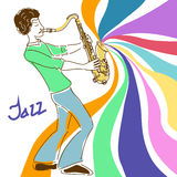 Poster with musician playing saxophone Stock Photography