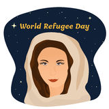 Poster with muslim girl for the world refugee day. Poster with muslim girl for the world refugee or migrants day Royalty Free Stock Photos