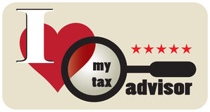 Poster my tax advisor. Poster I love my tax advisor. Vector illustration Stock Images