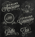 Poster names of coffee drinks. Chalk. Royalty Free Stock Photos