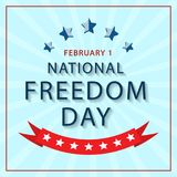 Banner of the National Day of Freedom of America. Vector. Poster national freedom day blue background with stars and red ribbon Royalty Free Stock Photos