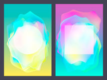 Poster with neon flat geometric pattern. Holographic colorful graphic backgrounds. Retro banner, flyer, leaflet, poster Royalty Free Stock Photography