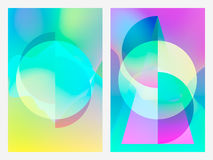 Poster with neon flat geometric pattern. Holographic colorful graphic backgrounds. Retro banner, flyer, leaflet, poster Stock Images