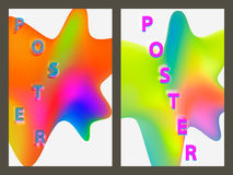 Poster with neon geometric pattern. Holographic colorful graphic backgrounds. Retro banner, flyer, leaflet, poster Royalty Free Stock Photo