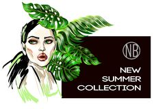 Poster of new summer collection with fashion girl and tropical leaves. Poster of new summer collection with fashion girl Royalty Free Stock Image