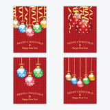 Poster for New Year with Christmas decorations on the knitted. Background.Cards for Christmas and New Year standard size.Christmas and New Year banners stock illustration