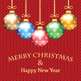 Poster for New Year with Christmas decorations on the knitted. Background.Happy new year background with Christmas bauble stock illustration