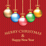 Poster for New Year with Christmas decorations on the knitted. Background.Happy new year background with Christmas bauble royalty free illustration