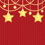 Poster for New Year with Christmas decorations on the knitted. Background.Happy new year background with Christmas bauble and stars stock illustration