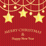 Poster for New Year with Christmas decorations on the knitted. Background.Happy new year background with Christmas bauble and stars royalty free illustration