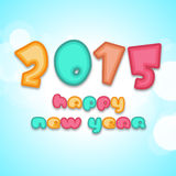 Poster for New Year 2015 in kiddish way. Colorful text of Happy New Year 2015 in kiddish way on sky blue background vector illustration