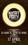 Poster for night dance party. Gold round banner of luminous neon swirling lines. Name of club and DJ. Night party flyer. Plexus ba vector illustration