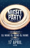Poster for night dance party. Gold round banner of luminous neon swirling lines. Name of club and DJ. Night party flyer. Blue plex Royalty Free Stock Photo