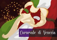 Italian Night in Venice Carnival with Zanni Mask and Flag, Vector Illustration. Poster of a night view of Venice Carnival -written in Italian- with a traditional Stock Photos