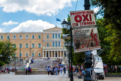 A poster for NO vote in Syntagma Square, Athens Royalty Free Stock Photos
