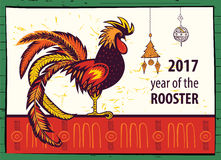 Poster Of 2017 Chinese New Year Of The Rooster. Vector Hand Dra Stock Photo