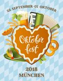 Poster for oktoberfest festival. Beer set with tap, glass, hop branch with leaf, barrel. Vintage vector color engraving Stock Photography