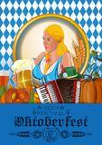 Poster for Oktoberfest with german cute girl. Poster for Oktoberfest. German cute girl waitress in traditional clothes holding yellow beer mugs. Oktoberfest Royalty Free Stock Image