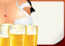 Poster with Oktoberfest Girl. Beer Fest Vector. Image Stock Photos