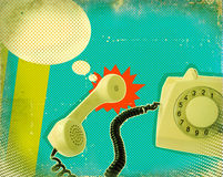 Poster with old fashioned telephone Royalty Free Stock Photo