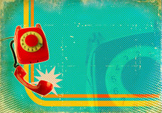 Poster with old fashioned telephone on retro paper Stock Images