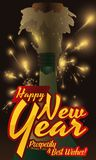 Festive New Year Celebration with Uncorked Champagne Bottle, Vector Illustration Royalty Free Stock Image