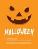 Poster of orange face pumpkin on Halloween flat vector. Stock Photo