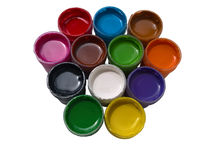 Poster Paints in Cups Isolated Stock Image