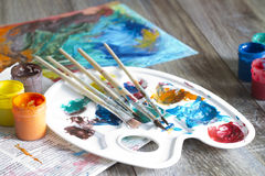 Poster paints watercolor with brushes abstract concept Royalty Free Stock Image