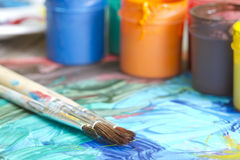 Poster paints watercolor with brushes abstract concept Stock Image