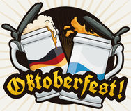 Poster with a Pair of Stein Celebrating Oktoberfest, Vector Illustration. A pair of traditional stein making a toast to celebrate Oktoberfest with delicious beer Royalty Free Stock Image