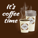 Poster with paper cup of coffee lettering its coffee time on bro Royalty Free Stock Photography