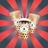 Poster with paper cups Stock Image