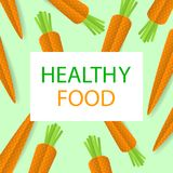 Poster with paper cut orange carrots. Healthy lifestyle. Vector Royalty Free Stock Images