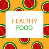 Poster with paper cut watermelon. Healthy lifestyle. Vector illu Stock Image