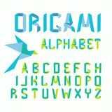 Origami font alphabet with paper   Royalty Free Stock Photography
