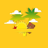 Poster of paper palm trees, sun and clouds Stock Images