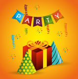 Poster party gift hat pennant confetti Royalty Free Stock Images