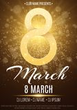 Poster for party on March 8. Abstract gold night lights. Invitation to the club. Flash of light and a glowing dust. Shiny figure 8. With glitters. Women`s Day royalty free illustration