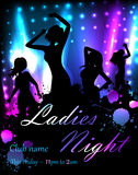 Poster for party template. Poster template for disco party with silhouettes of dancing people and grunge elements Royalty Free Stock Photos