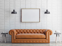 Poster on pattern wall, sofa, 3d render Stock Photo