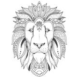 Poster with patterned lion. Illustration of lion with tribal mandala patterns. Use for print, t-shirts Royalty Free Stock Photography