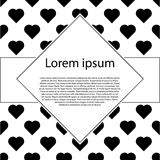 Poster with patterns of black hearts. Valentines day post card. Poster with patterns of black hearts. For invitation, post card or banner, Valentines day post Stock Image