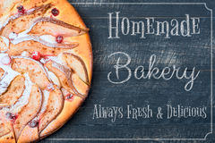 Poster Pears Pie Homemade Bakery. Fresh and Delicious on the wooden background Stock Image