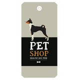 Poster Pet Shop Design label Basenji Geometric style Stock Image