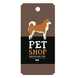Poster Pet Shop Design label Vector Illustration Akita Inu Stock Photo